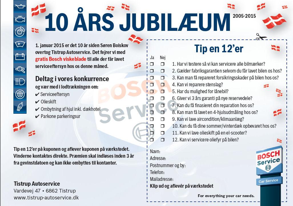10 ÅRS JUBILÆUM hos Tistrup Autoservice..